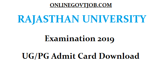 Rajasthan University exam admit card download