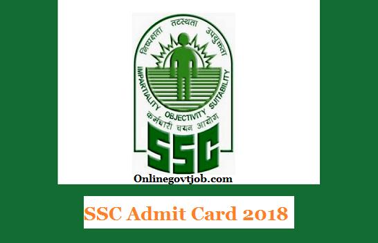 SSC Admit Card 2018