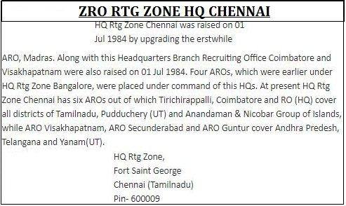 zro chennai army centre history